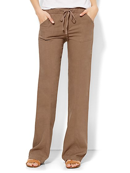 Lounge - Linen Drawstring Pant - Straight Leg - Tall  - New York & Company
