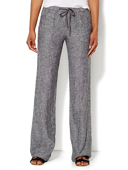 Lounge - Linen Drawstring Pant - Straight Leg - New York & Company