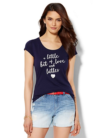 Lounge - Love and Lattes Logo Tee  - New York & Company