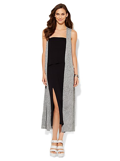Lounge - Marled Sleeveless Duster - New York & Company