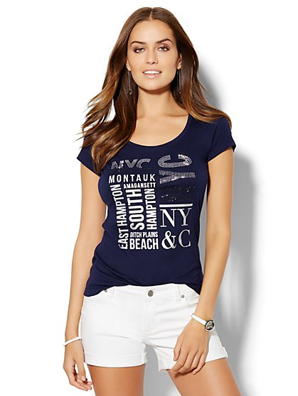 Lounge - Metallic & Rhinestone Beaches Logo Tee  - New York & Company