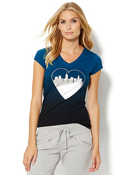 Lounge - Metallic & Rhinestone Heart Tee  - New York & Company