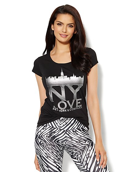 Lounge - Metallic Skyline Logo Tee  - New York & Company