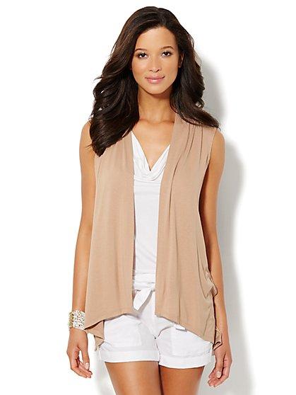 Lounge - Mixed-Fabric Flyaway Vest  - New York & Company
