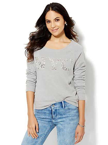 Lounge - NYC Rhinestone Raglan Top - Grey  - New York & Company