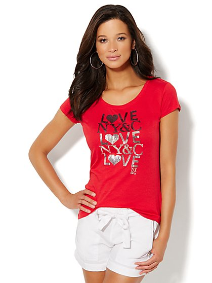 Lounge - Ombré Sequin Cotton Tee  - New York & Company