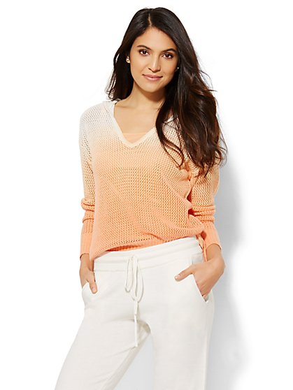 Lounge - Ombré V-Neck Hooded Sweater  - New York & Company