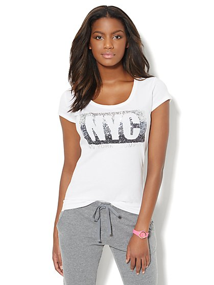 Lounge - Ombre Sequin NYC Logo Tee  - New York & Company