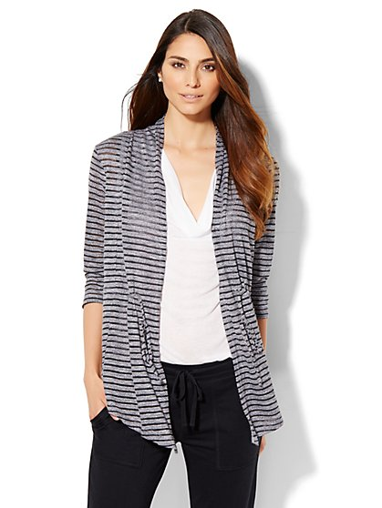 Lounge - Open-Front Cardigan - Stripe  - New York & Company
