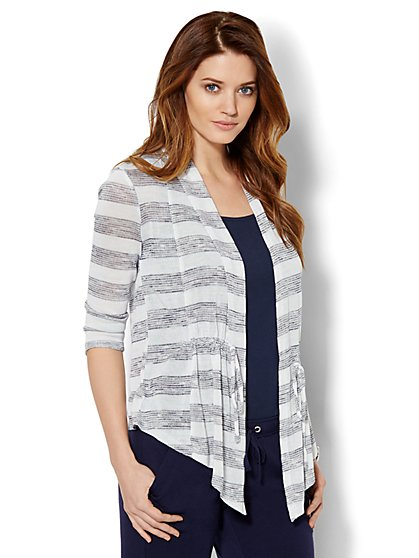 Lounge - Open-Front Drawstring Cardigan - Stripe  - New York & Company