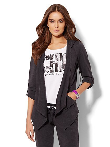 Lounge - Open-Front Hooded Cardigan  - New York & Company