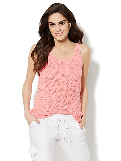 Lounge - Open-Knit Tank Sweater  - New York & Company