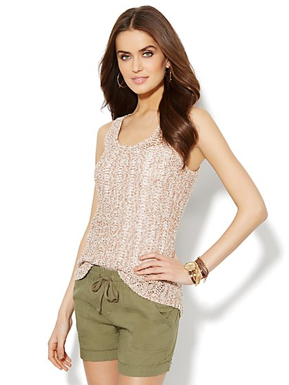 Lounge - Open-Knit Tank Top  - New York & Company