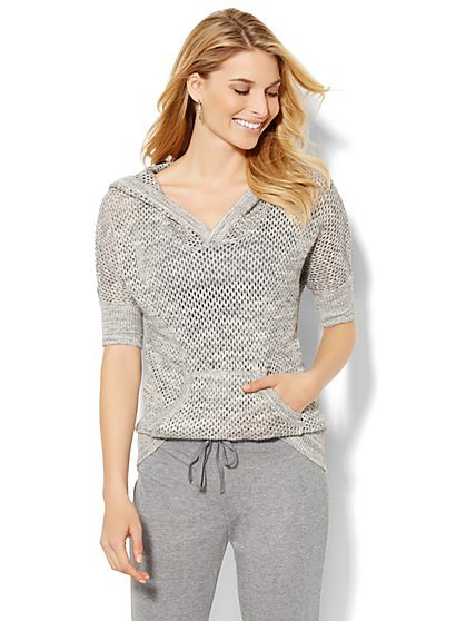 Lounge - Open-Stitched Hooded Pullover - Grey  - New York & Company