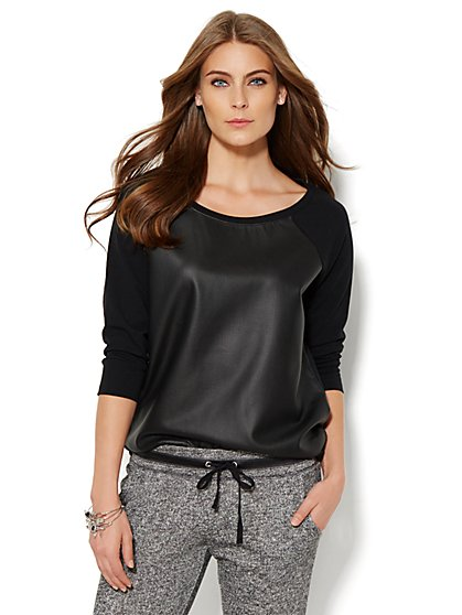 Lounge - Perforated Faux-Leather Top  - New York & Company