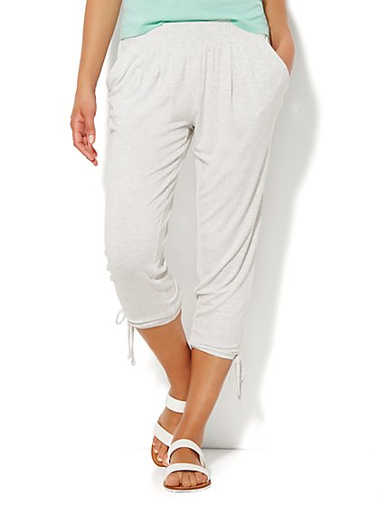 Lounge - Pleated Jogger - Heather Ivory  - New York & Company