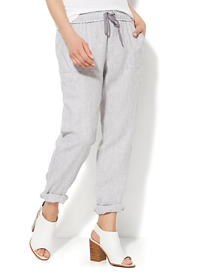 Lounge - Railroad-Stripe Boyfriend Pant - New York & Company