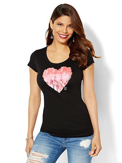 Lounge - Rhinestone Heart Logo Tee  - New York & Company