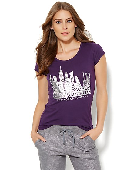 Lounge - Rhinestone Metallic Logo Tee  - New York & Company