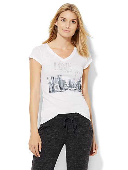 Lounge - Rhinestone Skyline Tee  - New York & Company