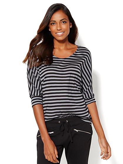 Lounge - Scoopneck Dolman Top - Stripe  - New York & Company
