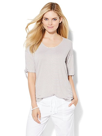 Lounge - Scoopneck T-Shirt - Stripe  - New York & Company