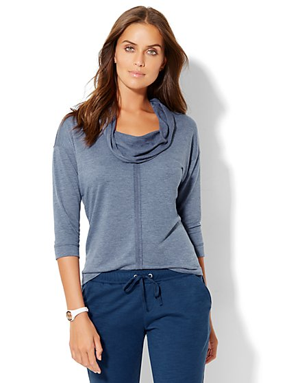 Lounge - Seamed Cowl-Neck Top  - New York & Company