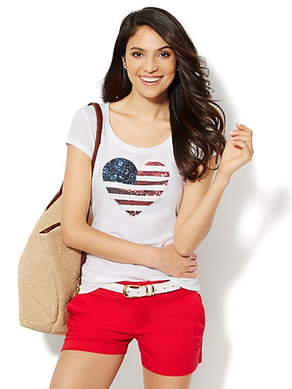 Lounge - Sequin Flag Heart Tee  - New York & Company