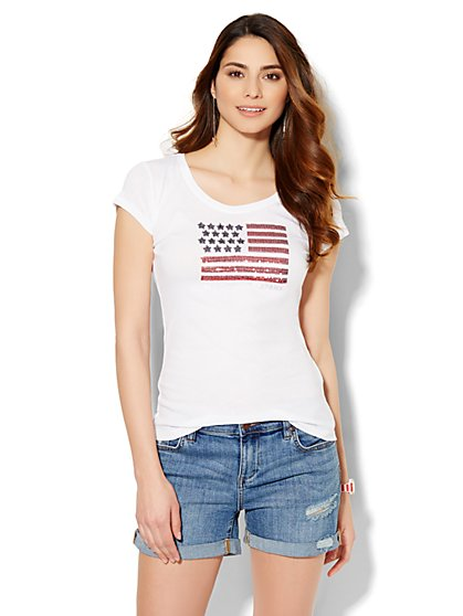 Lounge - Sequin Flag Logo Tee  - New York & Company