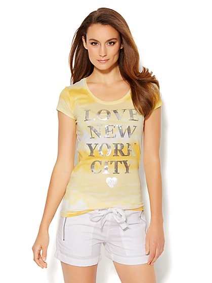 Lounge - Sequin & Tie-Dye Logo Tee  - New York & Company