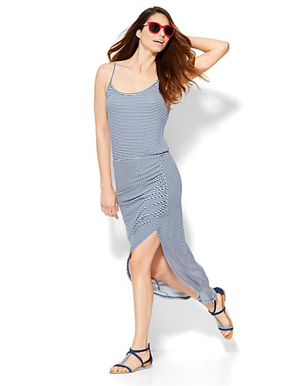 Lounge - Shirred Hi-Lo Maxi Dress - Stripe  - New York & Company