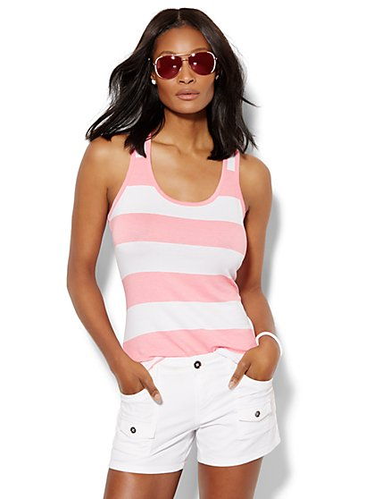 Lounge - Shirred Tank Top - Stripe  - New York & Company