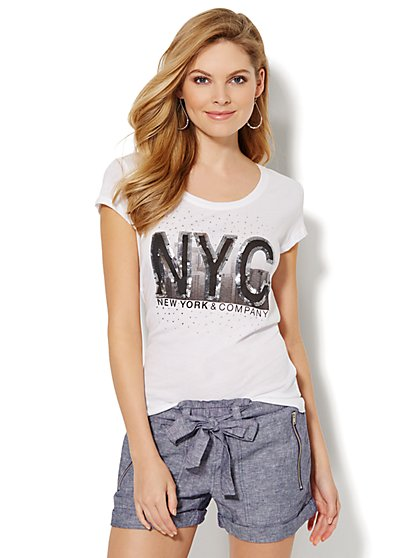 Lounge - Skyline Graphic Tee  - New York & Company