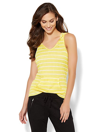 Lounge - Sleeveless Hoodie - Stripe  - New York & Company