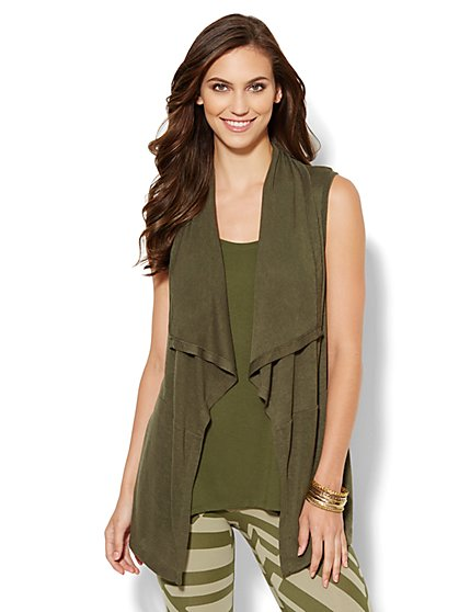 Lounge - Sleeveless Open-Front Cardigan - New York & Company