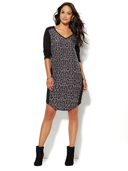 Lounge - Snake-Print V-Neck Dress - New York & Company