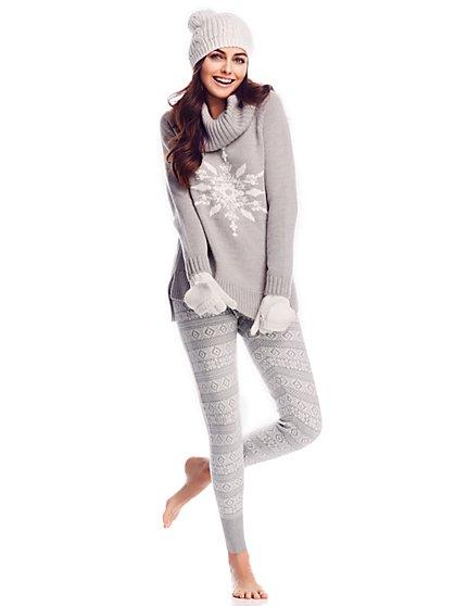 Lounge - Snowflake Cowl-Neck Sweater  - New York & Company
