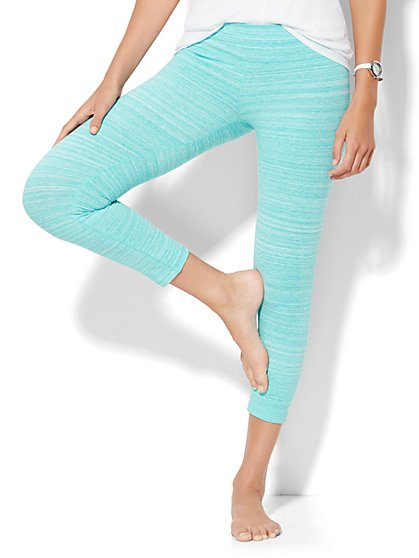 Lounge - Space-Dye Cropped Legging - Aruba Blue  - New York & Company