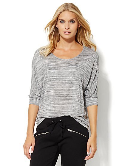 Lounge - Space-Dye Hi-Lo Top  - New York & Company