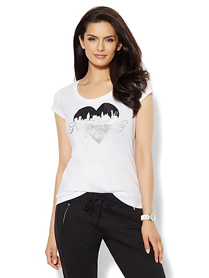 Lounge - Sparkle Heart Tee - Solid - New York & Company