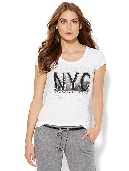 Lounge - Sparkling Skyline Logo Tee  - New York & Company