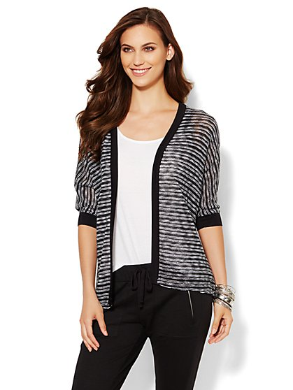 Lounge - Striped Cocoon Cardigan - New York & Company