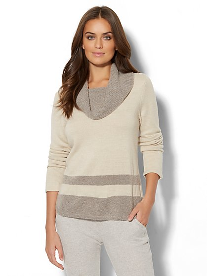 Lounge - Striped Cowl-Neck Sweater - New York & Company