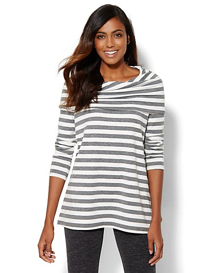 Lounge - Striped Cowl-Neck Tunic Top  - New York & Company