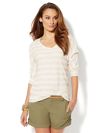 Lounge - Striped Dolman Pullover  - New York & Company