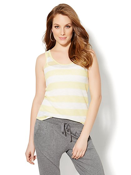 Lounge - Striped Knit Tank Top  - New York & Company