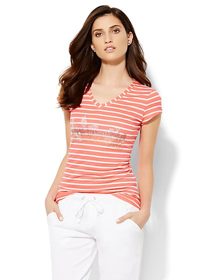 Lounge - Striped Skyline Tee - New York & Company