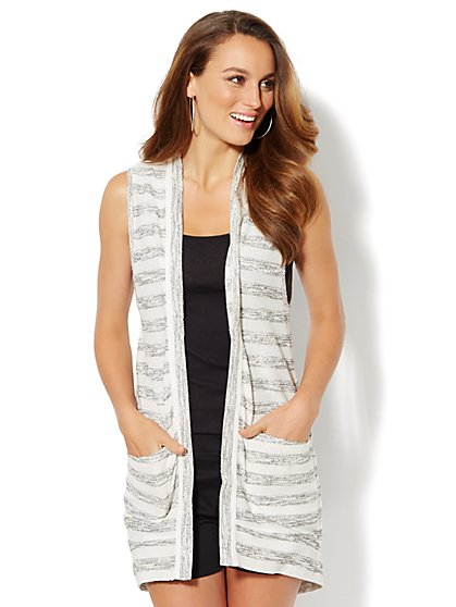 Lounge - Striped Sleeveless Duster  - New York & Company
