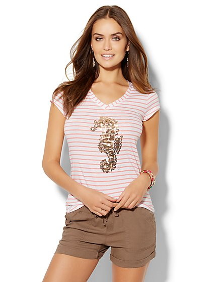 Lounge - Striped V-Neck Logo Tee - Sequin Seahorse - New York & Company
