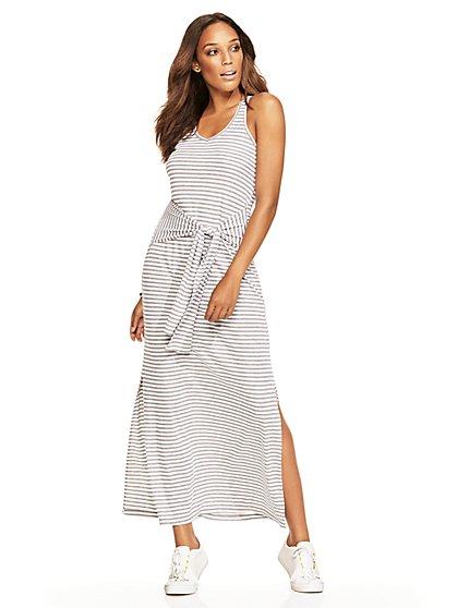 Lounge - Tie-Front Tank Dress - Stripe  - New York & Company